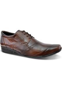 Sapato Social Masculino Couro De Amarrar Leoppé - Masculino-Marrom