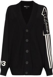 Y-3 Cardigan De Lã Com Estampa De Logo - Preto
