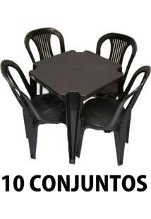 Conjunto Mesa E 4 Cadeiras Bistro Plástico Preto 10 Conjuntos