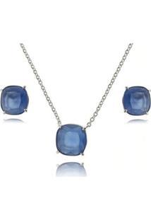 Conjunto Colar Brincos Amoeto Folheado Quadrado Feminino - Feminino-Azul
