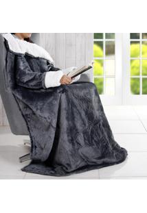Manta Cobertor Tv Com Mangas Efeito Pele De Carneiro Toque Flannel - Asphalt