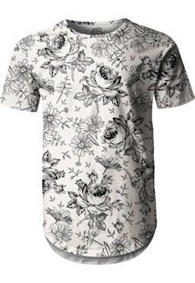 Camiseta Longline Over Fame Floral Branca