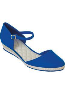 Sandália Azul Royal Com Salto Anabela