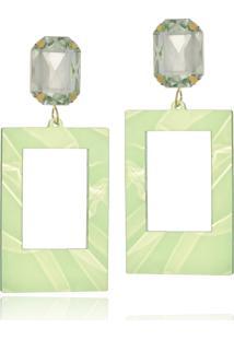 Brinco Le Diamond Acrílico Geométrico Base Cristal Verde Claro - Kanui