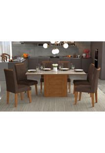 Conjunto De Mesa De Jantar Retangular Rafaela Com 6 Cadeiras Nicole Suede Cacau E Off White