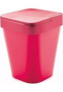 Lixeira Rosa Com Tampa Capacidade 5 L De Polipropileno