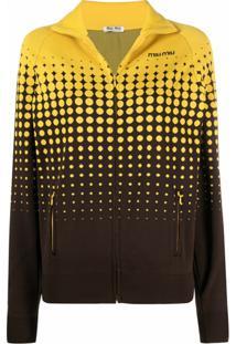Miu Miu Jaqueta Com Efeito Degradê E Zíper - Amarelo