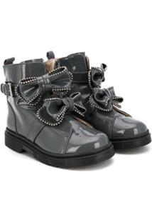 Florens Ankle Boot Com Laços - Cinza
