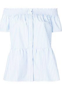 Redvalentino Blusa Ombro A Ombro Listrada - Azul