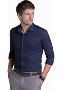 Camisa Buckman Social Maniqueta Falso Liso Azul Marinho