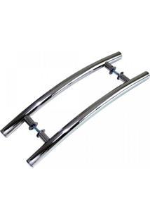 Puxador Para Porta Duplo Em Inox Belíssima Eco 70Cm Geris Prata