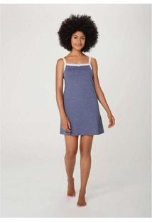 Camisola Feminina Com Renda Azul