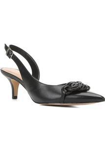 Scarpin Couro Shoestock Slingback Salto Baixo Macramê - Feminino-Preto
