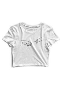 Blusa Blusinha Cropped Tshirt Camiseta Feminina Humano E Animal Branco