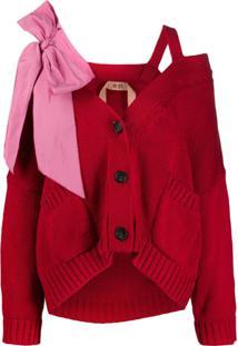 Nº21 Cardigan Com Laço Oversized - Vermelho
