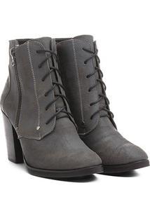 Bota Couro Shoestock Coturno Zíper - Feminino-Cinza