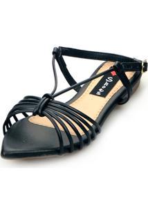 Sandalia Love Shoes Salomé Rasteira Bico Folha Tirinhas Metalizadas Preto