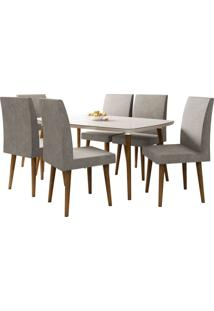 Mesa De Jantar Com 6 Cadeiras Jade Pé Palito Off White Com Pena Caramelo Rv Móveis