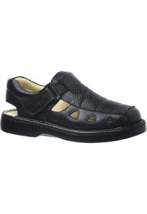 Sandália Couro Serpente Doctor Shoes Masculina - Masculino-Preto