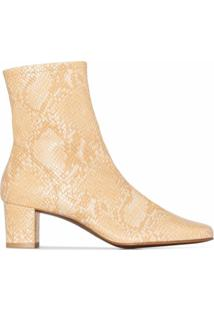 By Far Sofia 50Mm Snake-Effect Ankle Boots - Neutro