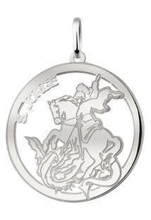 Pingente Circular São Jorge Em Prata 925 Médio - Unissex-Prata