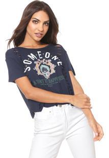 Camiseta Coca-Cola Jeans Estampada Recortes Azul-Marinho
