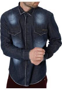 Camisa Jeans Manga Longa Masculina Bivik Preto
