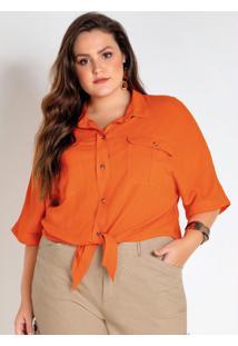 Blusa Plus Size Laranja Com Amarração Frente