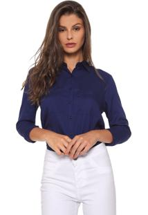 Camisa Enna Tricoline Azul-Marinho