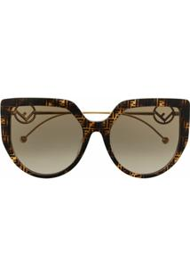 Fendi Eyewear Óculos De Sol Gatinho Com Efeito Tartaruga - Marrom