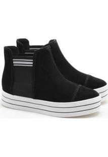 Ankle Boot Moleca Nobuck Flatform Preta