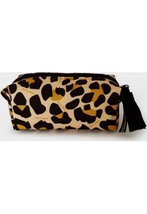 Necessaire Nita Faco Barletta Mini Leopardo Amarelo - Amarelo - Feminino - Dafiti