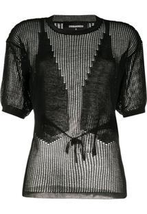 Dsquared2 Blusa De Tricô Com Mesh - Preto
