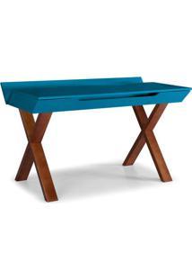 Escrivaninha Studio Cor Cacau Com Azul - 28938 - Sun House