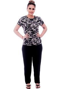 Pijama Ficalinda De Blusa Manga Curta Estampa Militar Camuflada E Viés Preto E Calça Comprida Preta