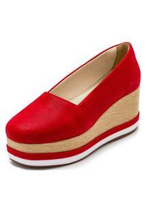 Sapato Anabela Dia A Dia Gisela Costa Vermelho