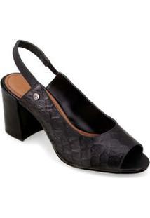 Sandalia Salto Medio Rebite Personalizado Preto