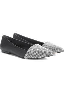 Sapatilha Couro Shoestock Bico Fino Cristal Feminina - Feminino-Preto