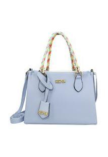 Bolsa Feminina De Lado Com Alça Colorida Selten Azul