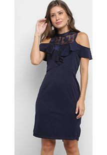 Vestido Lily Fashion Renda Babados - Feminino-Marinho