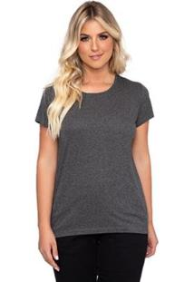 Camiseta Simone Saga Recorte Ombro Feminina - Feminino-Mescla