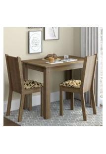 Conjunto Sala De Jantar Madesa Bel Mesa Tampo De Madeira Com 2 Cadeiras Rustic/Bege Marrom