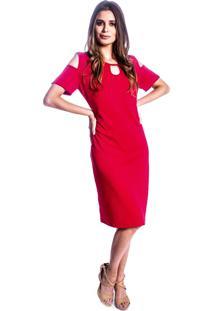Vestido Carbella Decote Malha Favo Vermelho