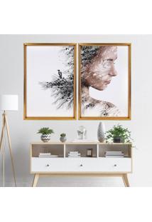 Quadro Love Decor Com Moldura Chanfrada Efeito Árvore Mulher Dourado - Grande