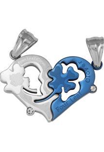 Pingente Coração Tudo Jóias Aço Inox Azul