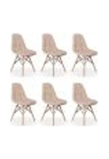 Kit 06 Cadeiras Dkr Charles Eames Wood Estofada Botonê - Nude