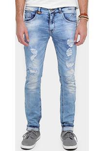 Calça Jeans Skinny Rock & Soda Puídos Masculina - Masculino