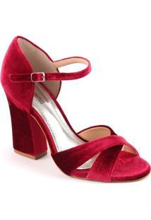Sandália De Veludo Spaço Criativo Salto Grosso - Feminino-Vermelho