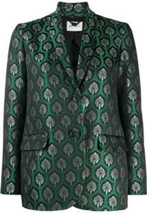 Be Blumarine Metallic Patterned Blazer - Verde