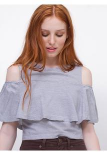 Camisa Cropped Listrada Em Viscose